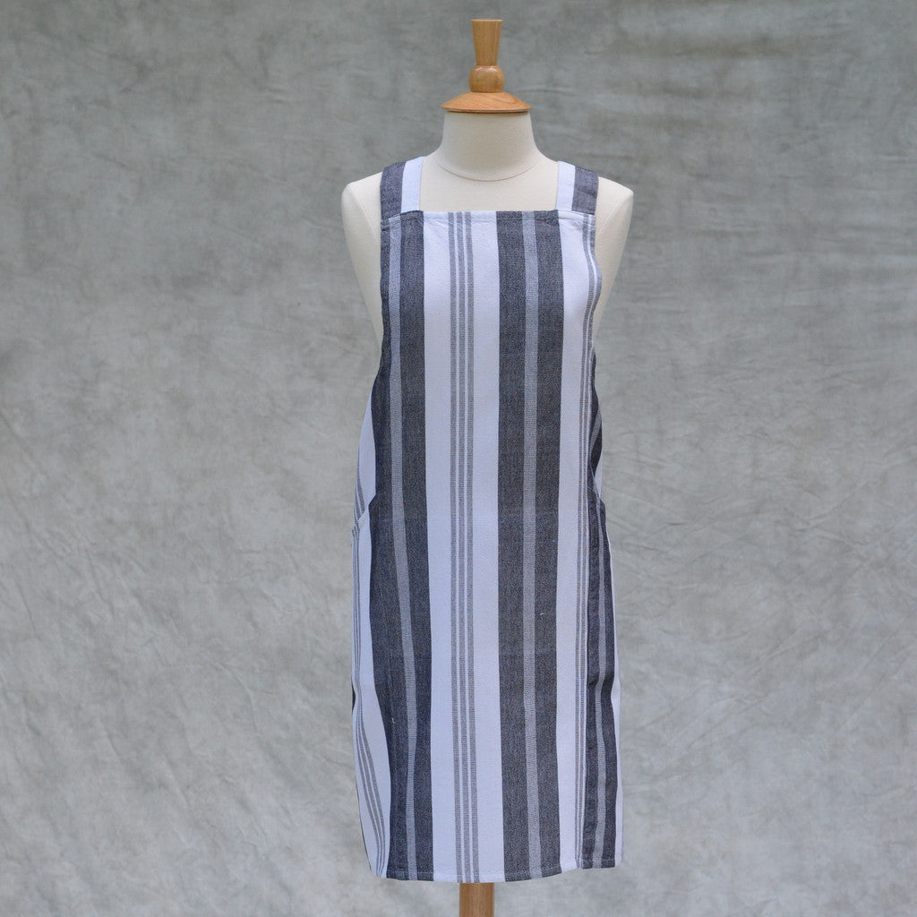 Crossback Apron | Black & White Stripes