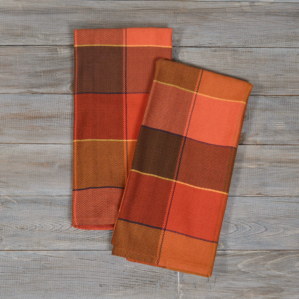 Plaid Twill Dish Towels Pumpkin