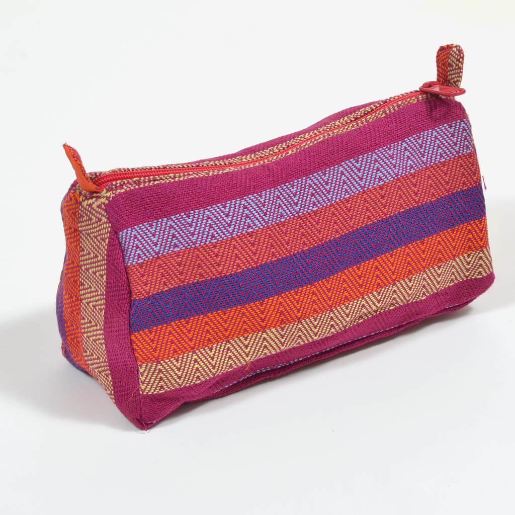 diamond stripe magenta cosmetic bag