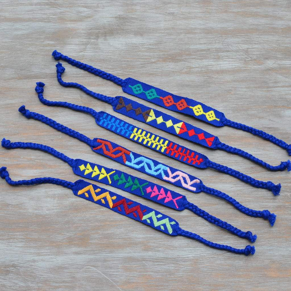 cobalt embroidered napkin ties set of 8