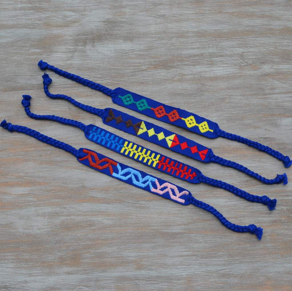 cobalt embroidered napkin ties set of 4