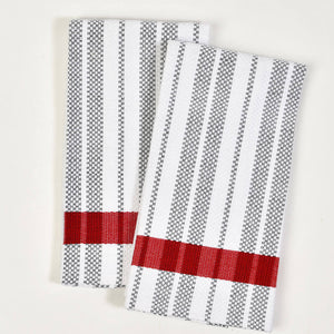 Hache Dish Towels | Black & White Stripes with Red Border