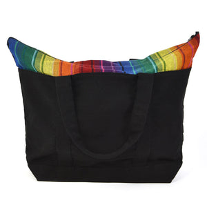 Weekender Tote | Rainbow Stripe on Black