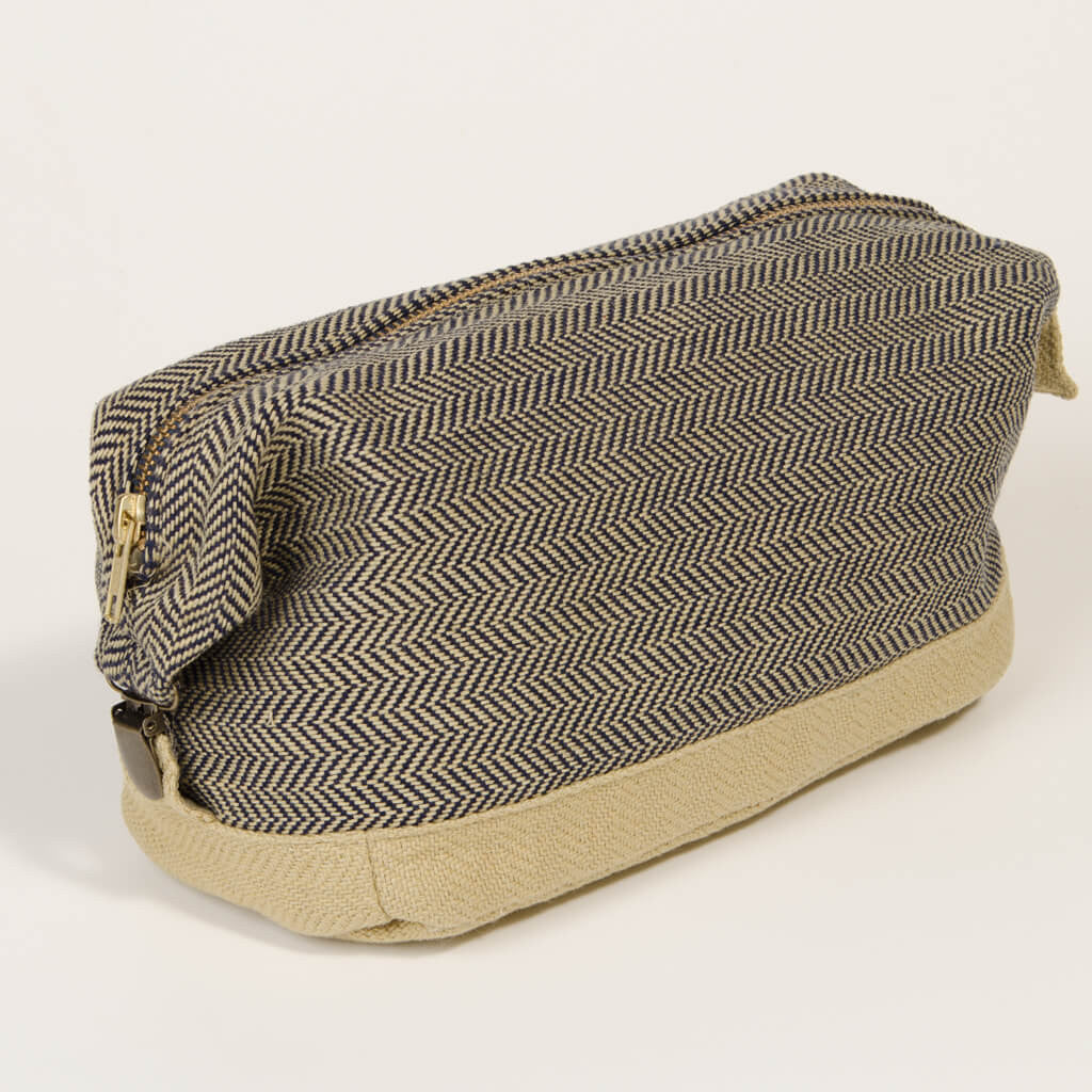 toiletry dopp kit navy champagne herringbone canvas