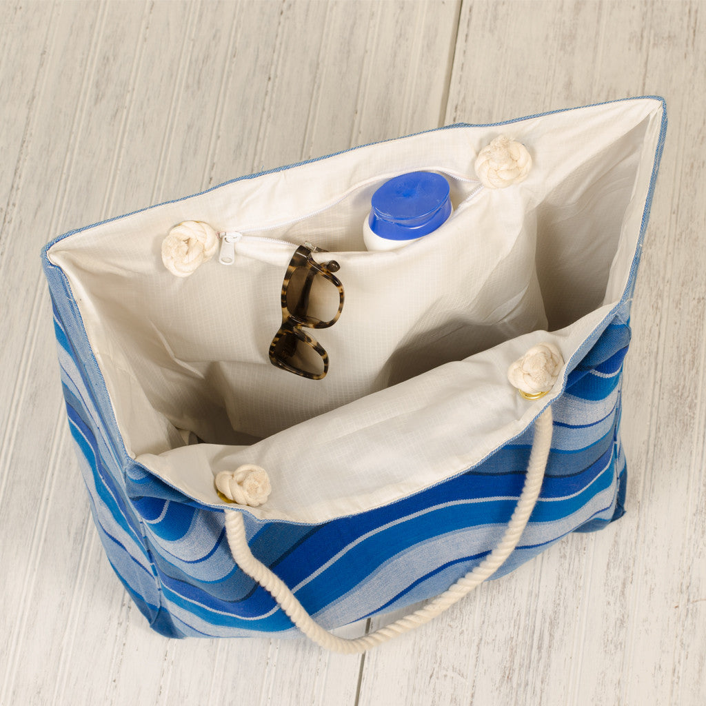 Interior stormy blues beach tote