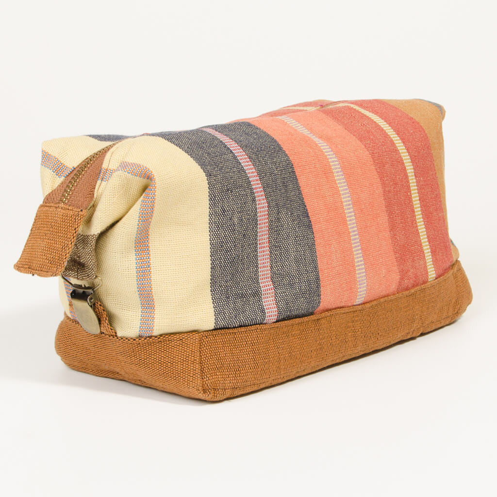 toiletry bag dopp kit caramel striped canvas