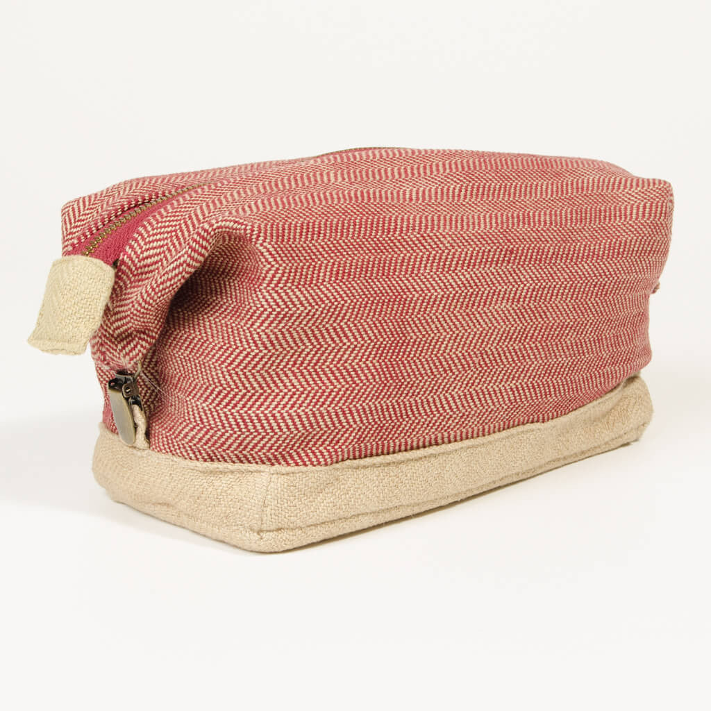 toiletry dopp kit maroon champagne herringbone