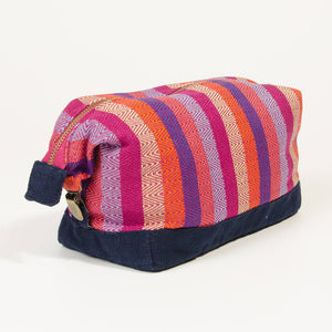 toiletry bag magenta stripe navy canvas