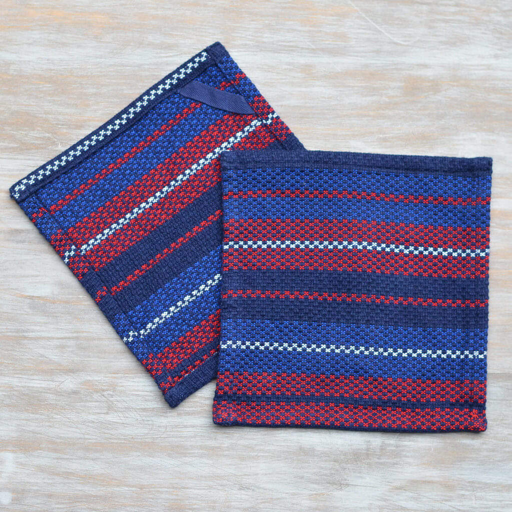 Dish Cloths Red White & Blue Stripes on Blue
