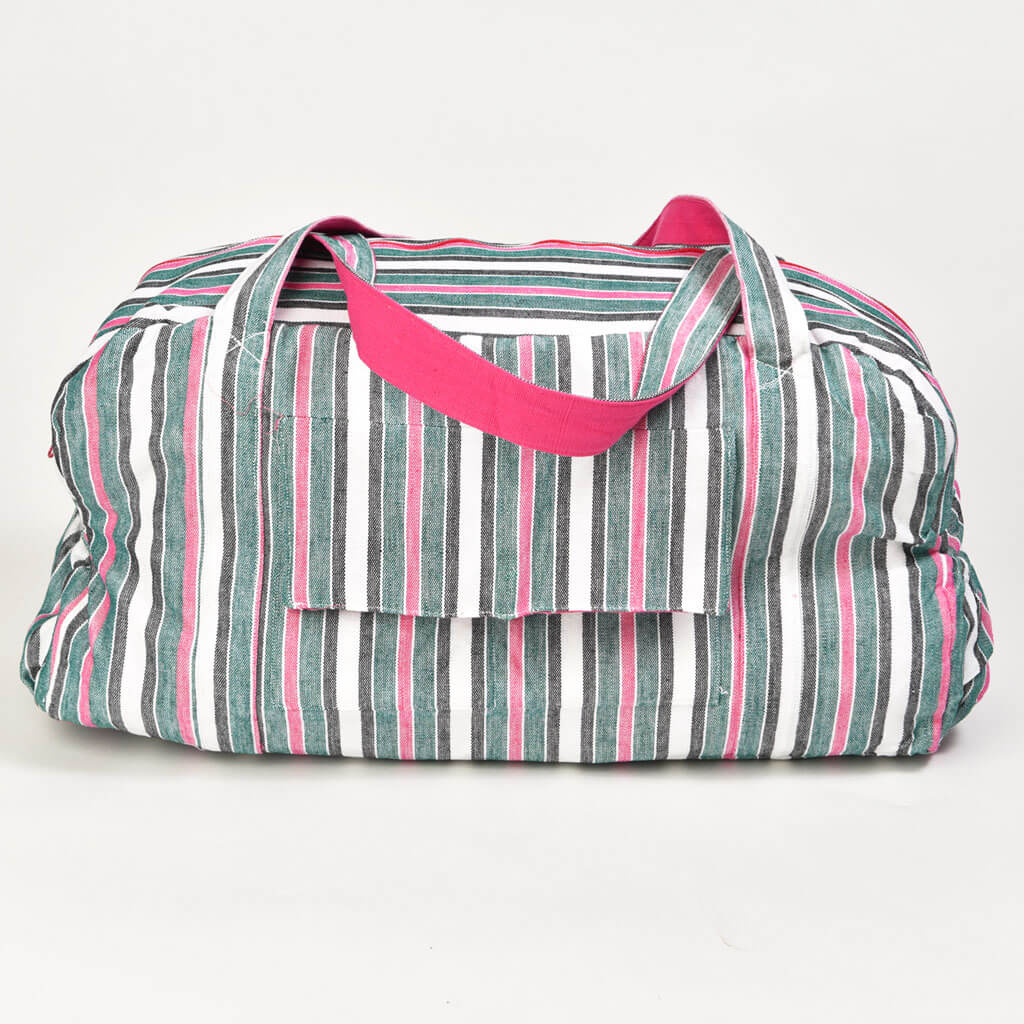 Barrel Bag | Emerald and Hot Pink Stripes