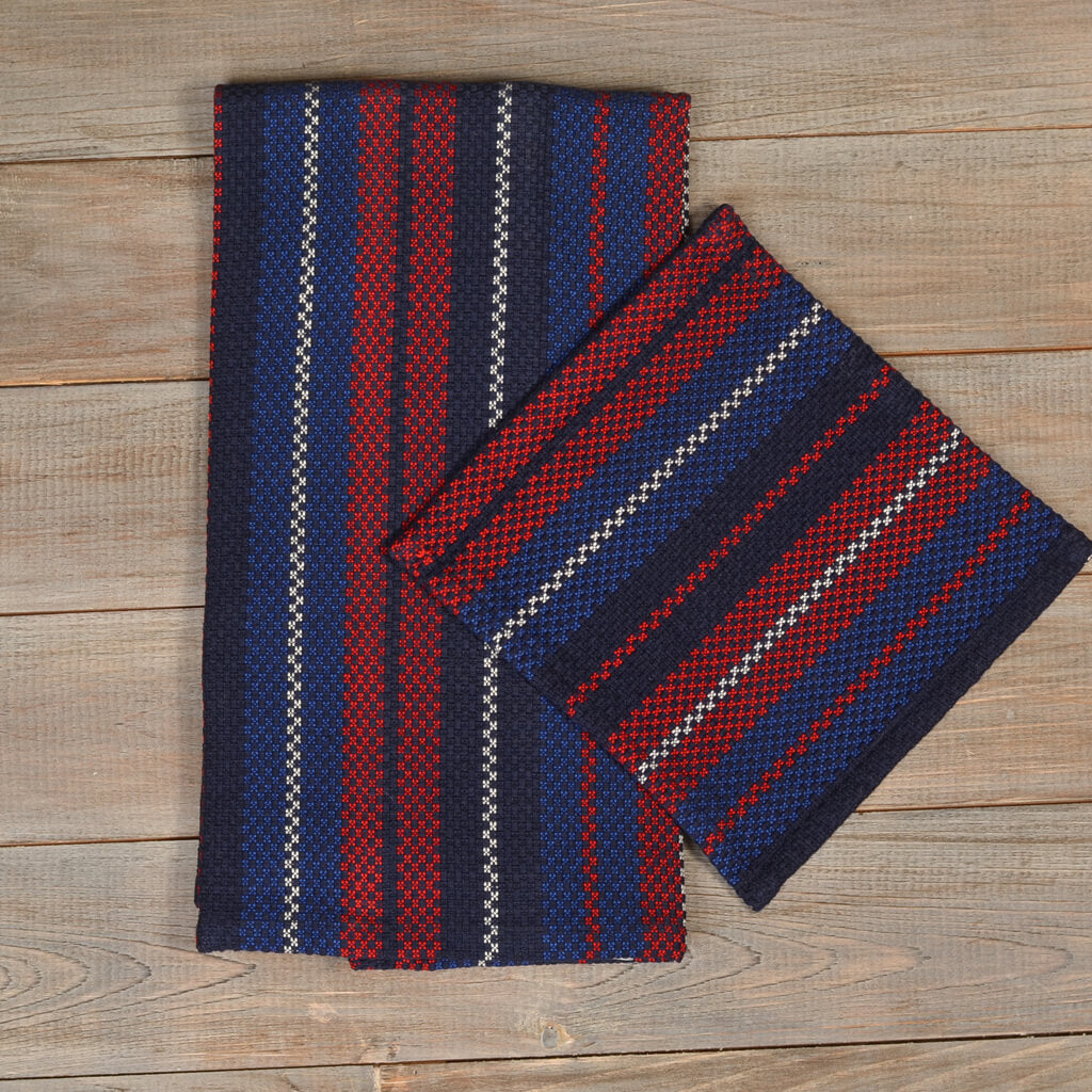 Hache Kitchen Towel with Dish Cloth in Red, White & Blue Stripes on Blue