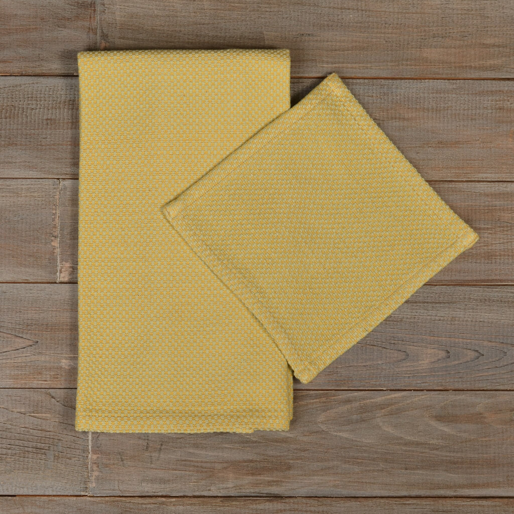 Hache Kitchen Towel with Dish Cloth in Celery & Butter Yellow