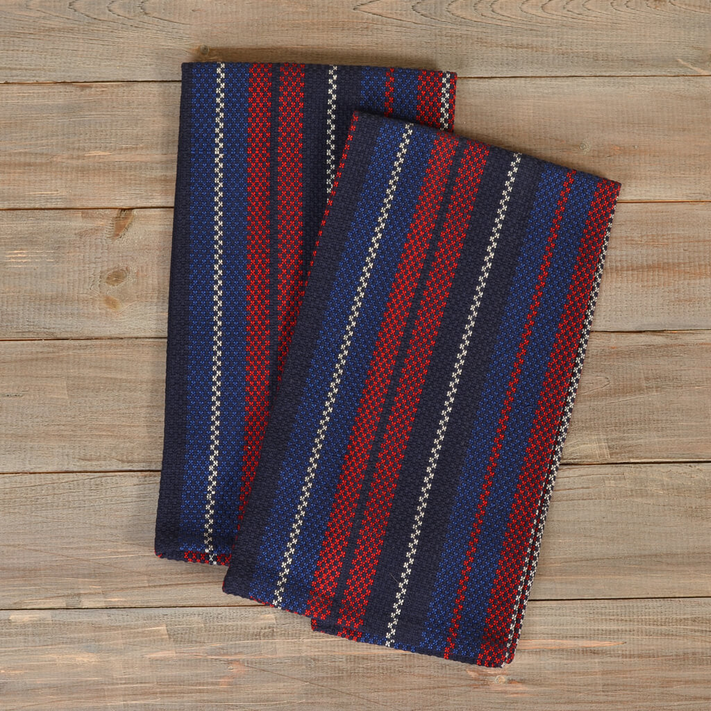 Hache Dish Towels Red White & Blue Stripes on Blue