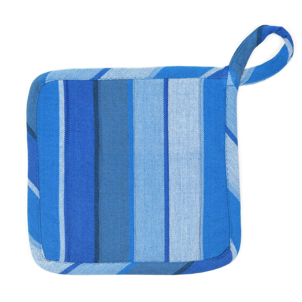 Square Pot Holder | Stormy Blues Stripe