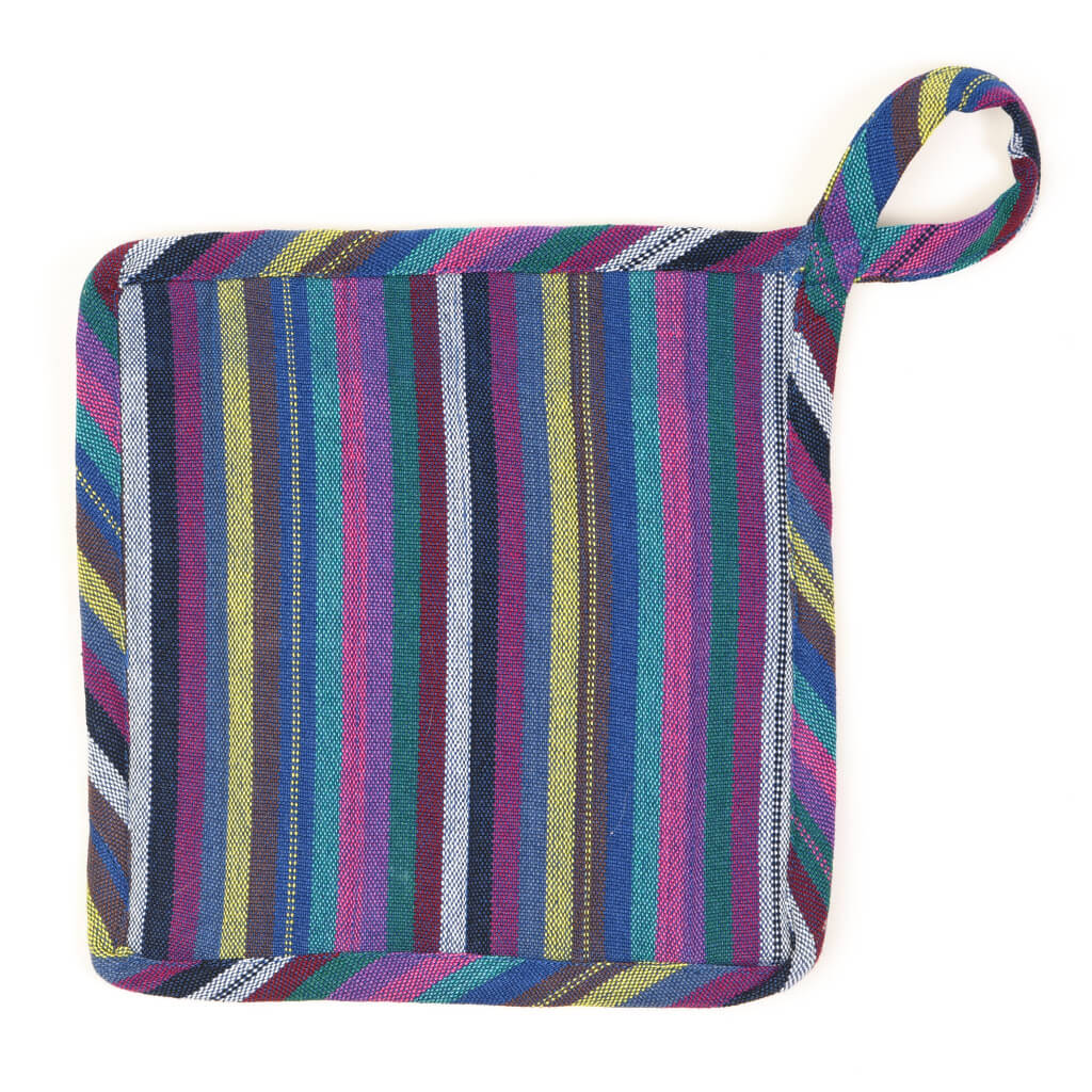 Square Pot Holder | Cobalt Blue Stripes