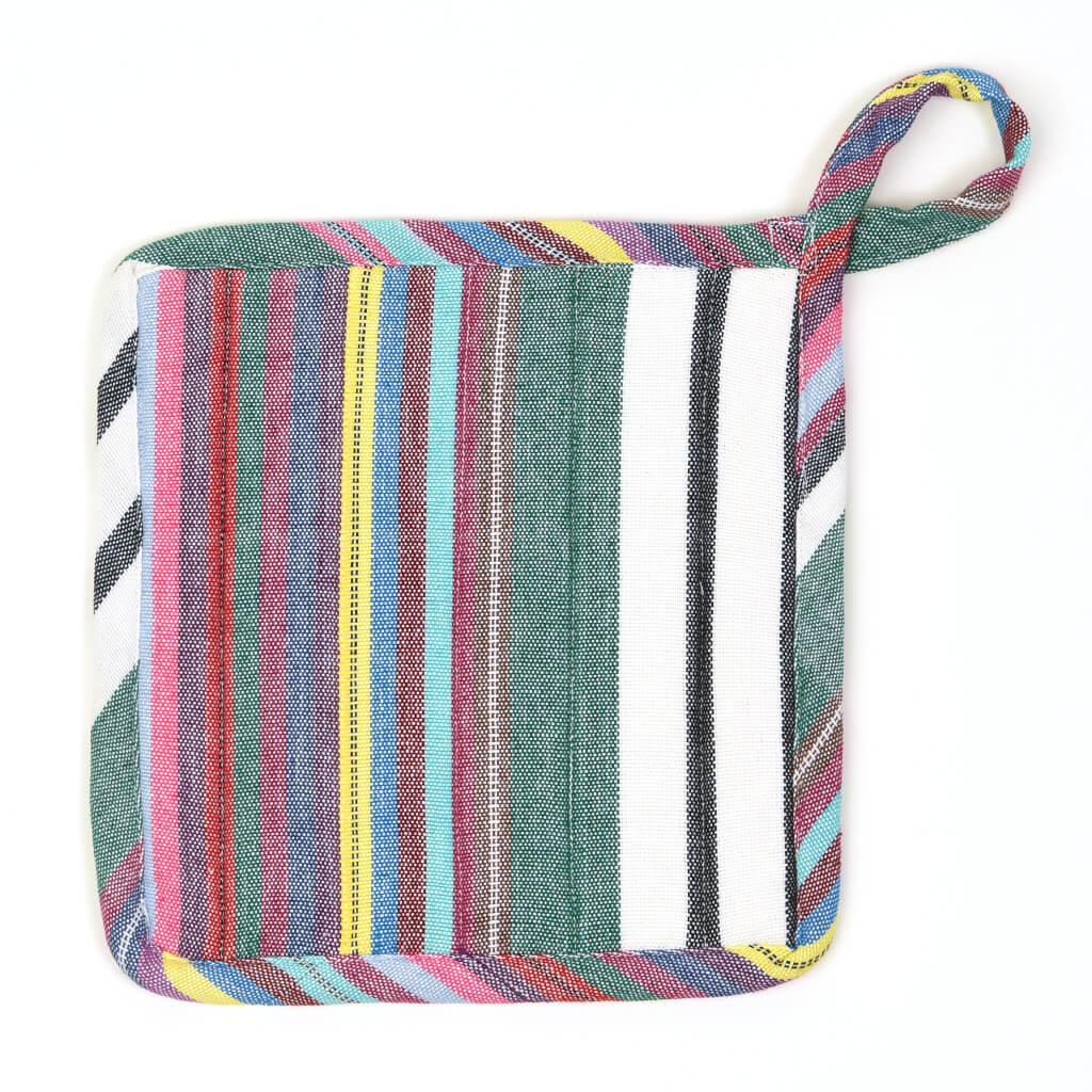 Square Pot Holder | Soft Multi Stripes