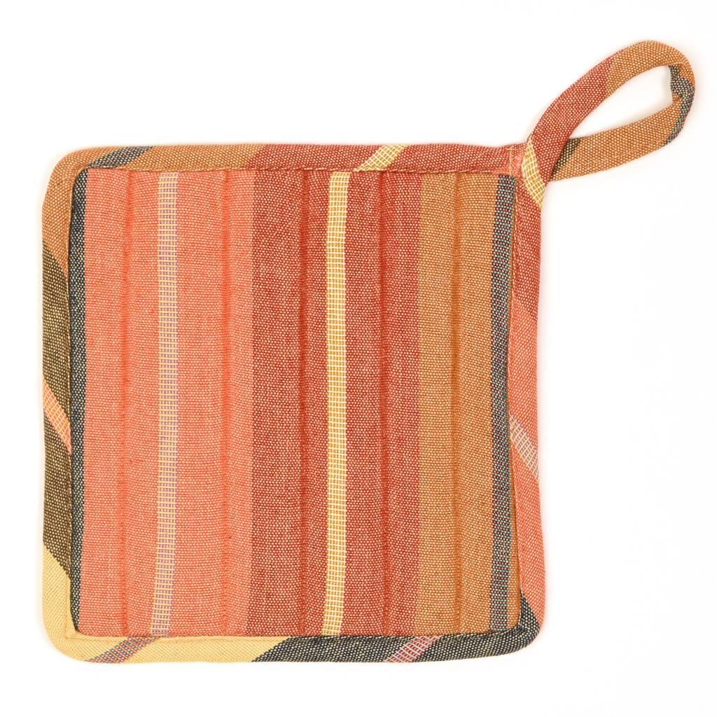 Square Pot Holder | Wide Caramel Stripes