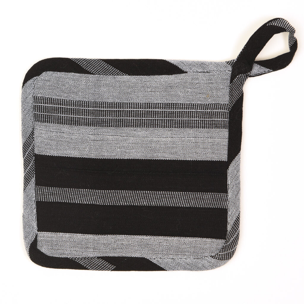 Square Pot Holder | Black & Gray Stripes