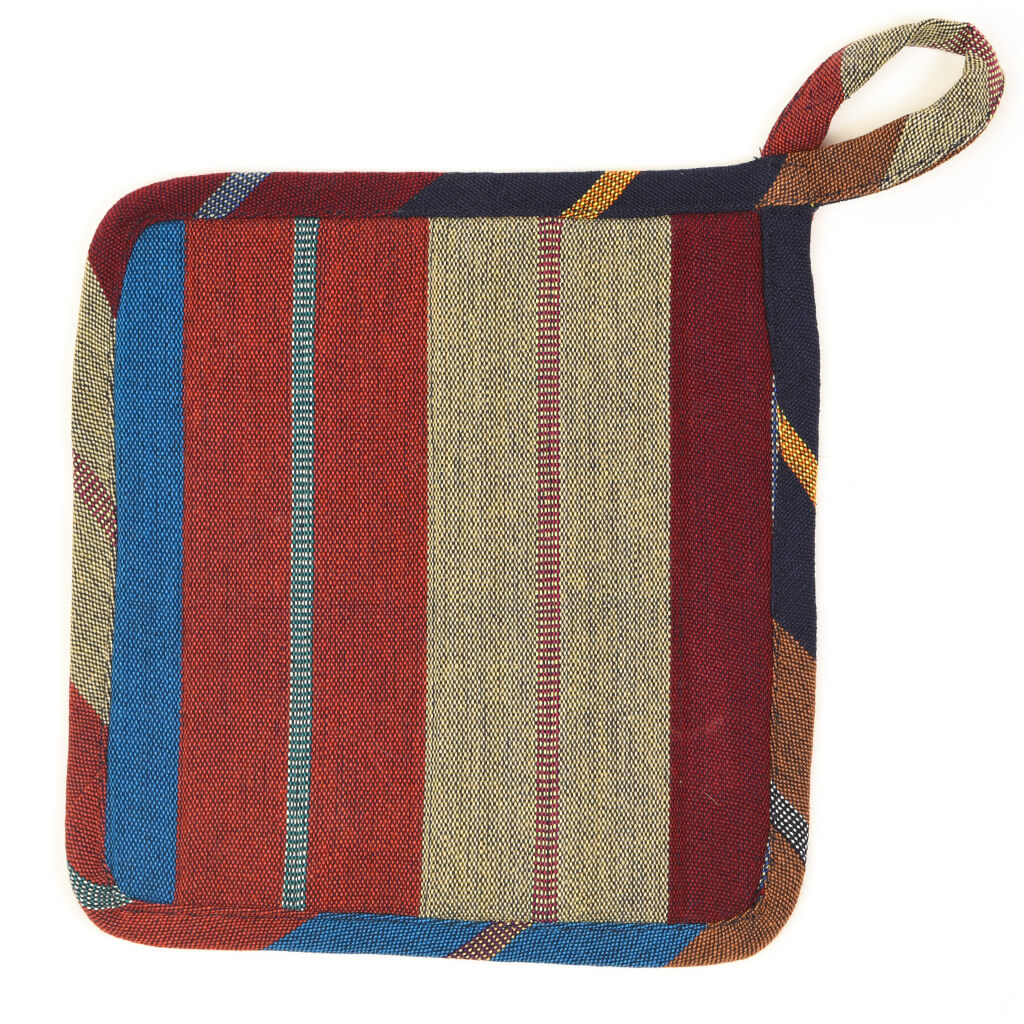 Square Pot Holder | Wide Indigo Stripes