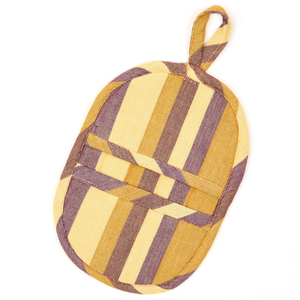 Mini Oven Mitt | Mustard & Eggplant Stripes