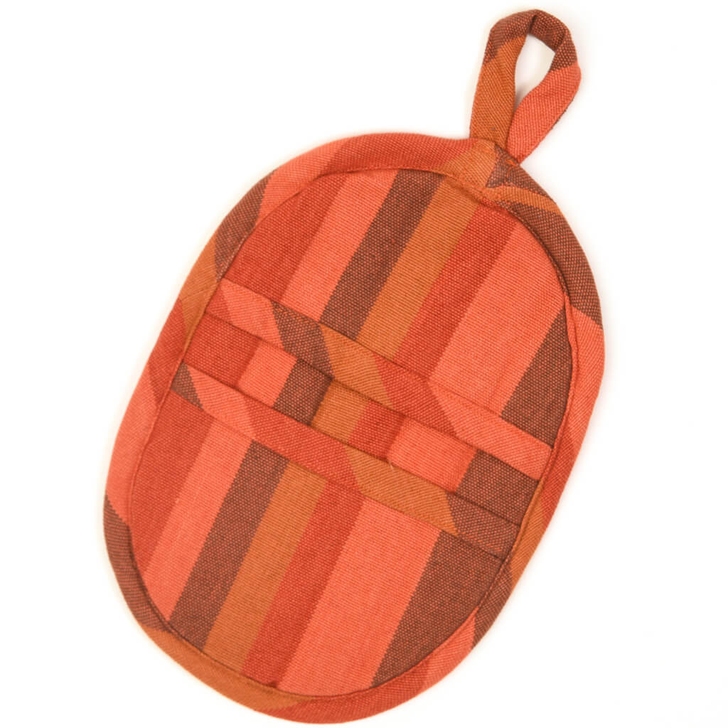 Mini Oven Mitt | Brick & Pumpkin Stripes