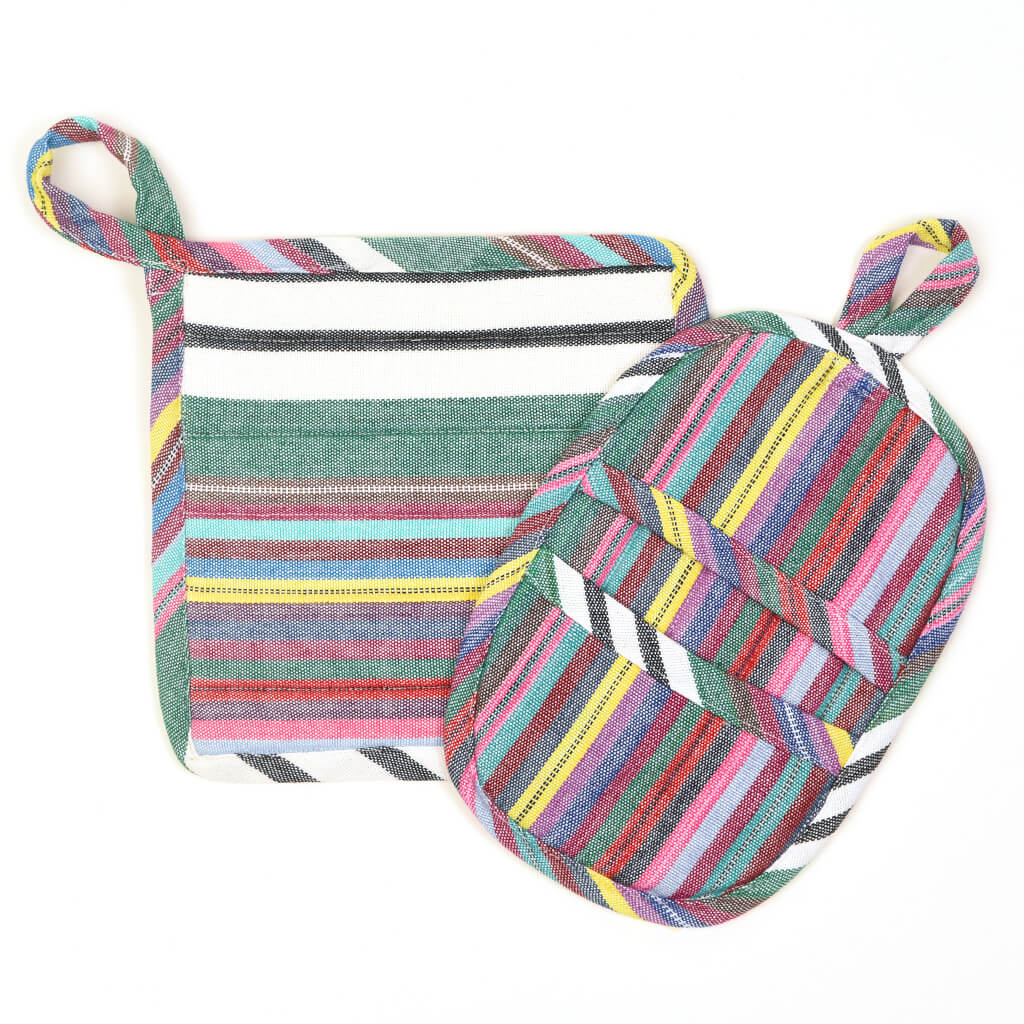 Potholder Gift Set | Soft Multi Stripes