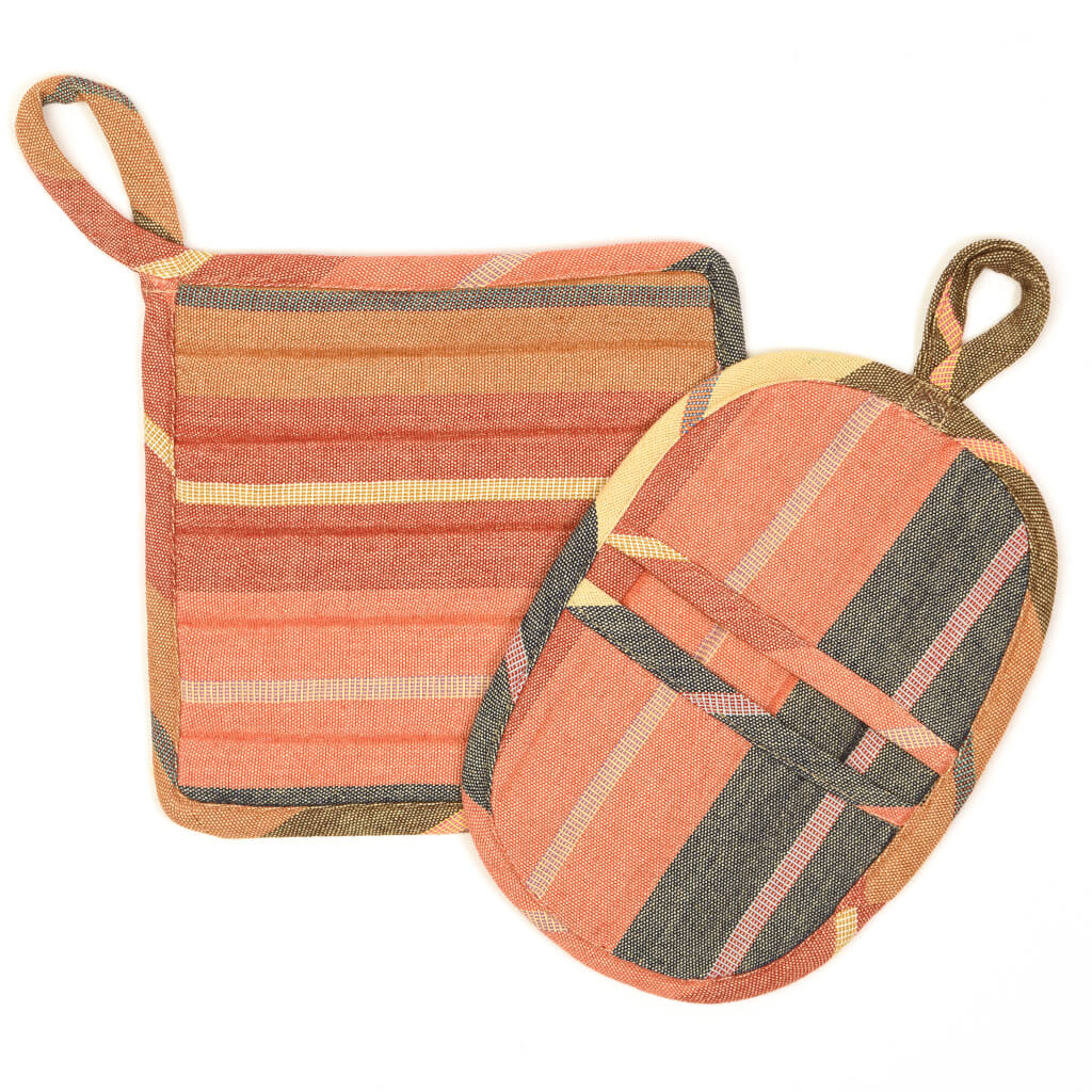 Potholder Gift Set | Wide Caramel Stripes