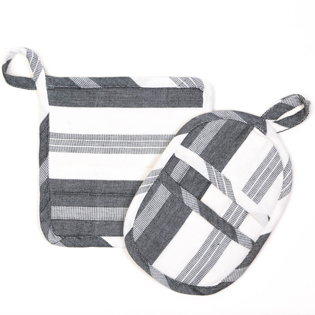 Potholder Gift Set | Black & White Stripes
