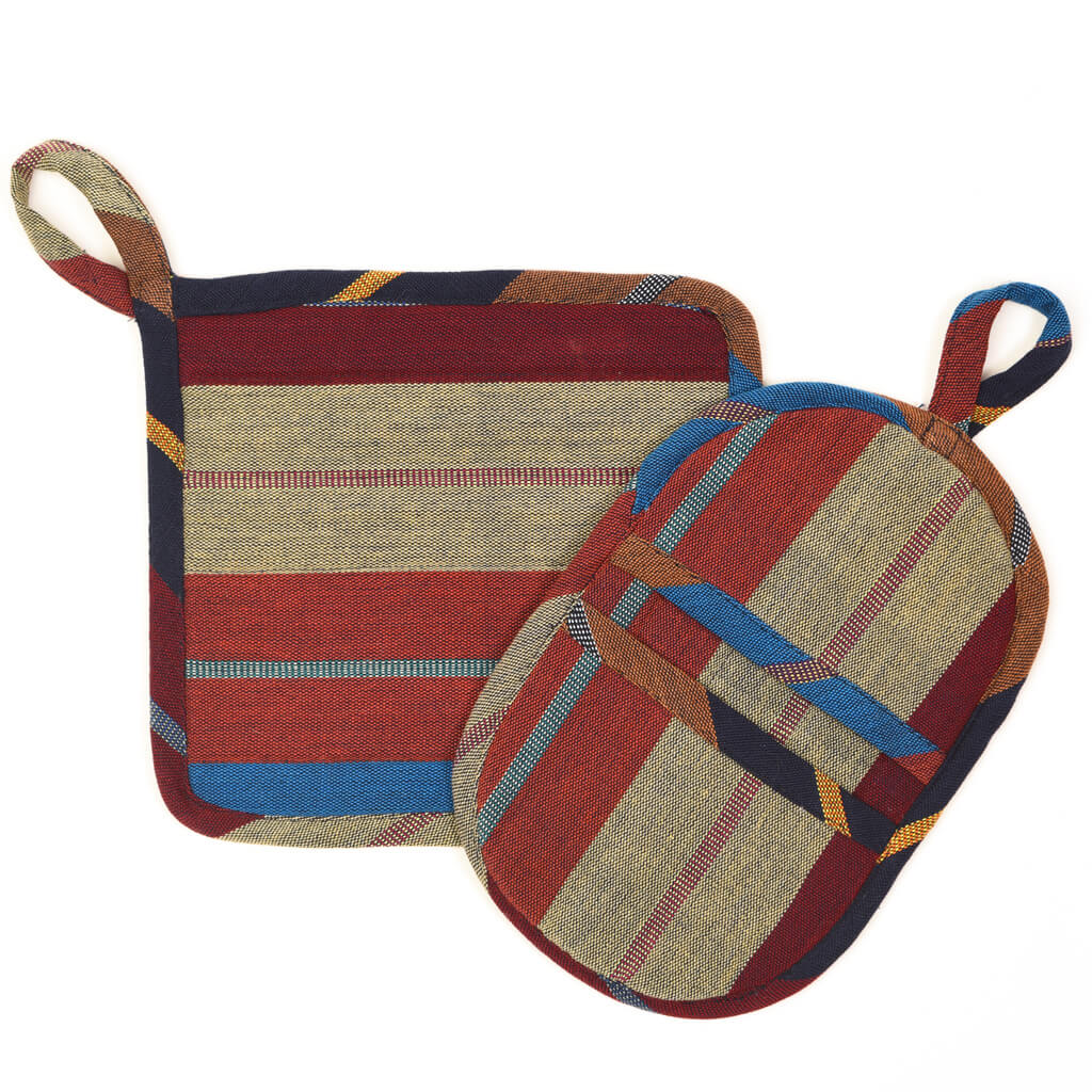 Potholder Gift Set | Wide Indigo Stripes