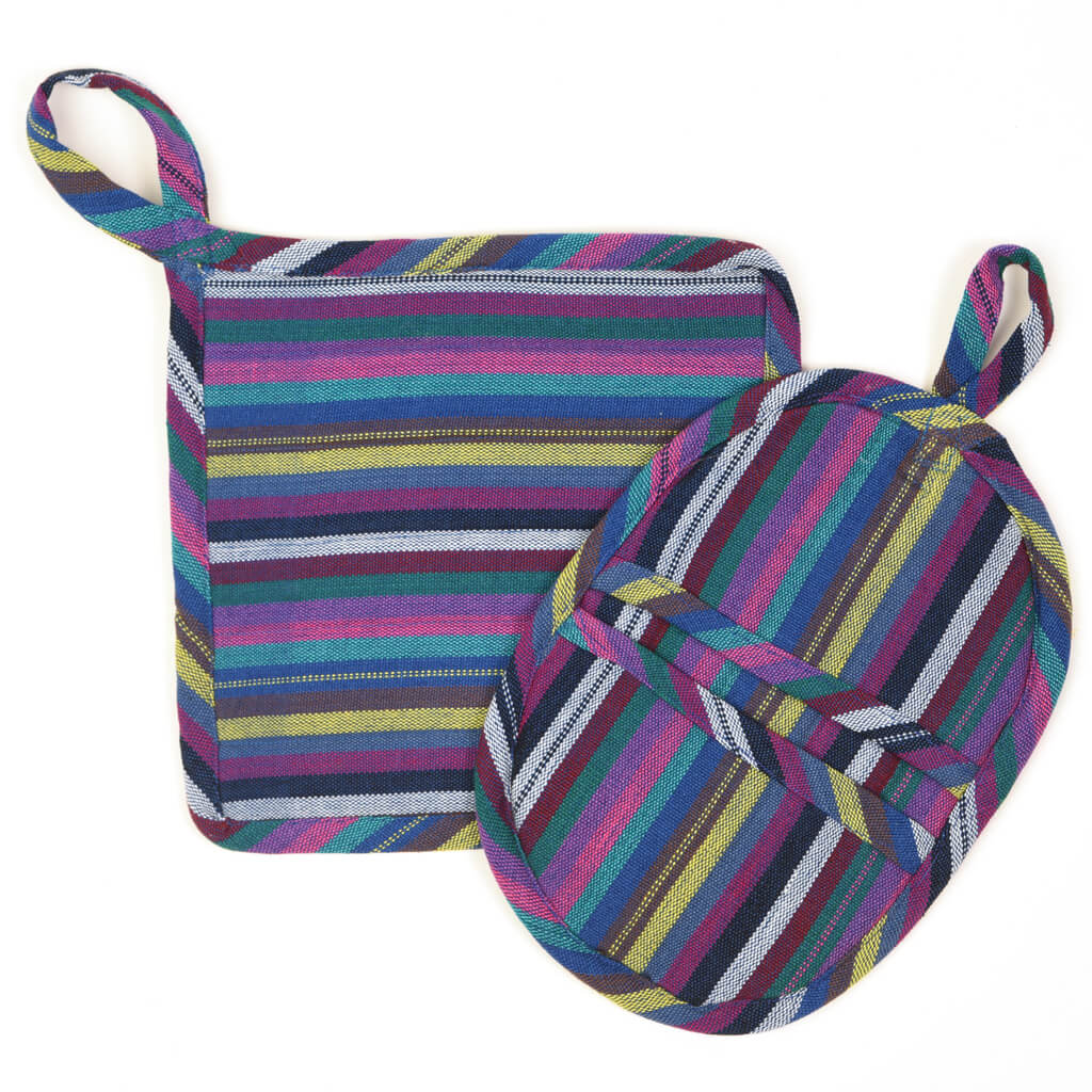 Potholder Gift Set | Cobalt Blue Stripes