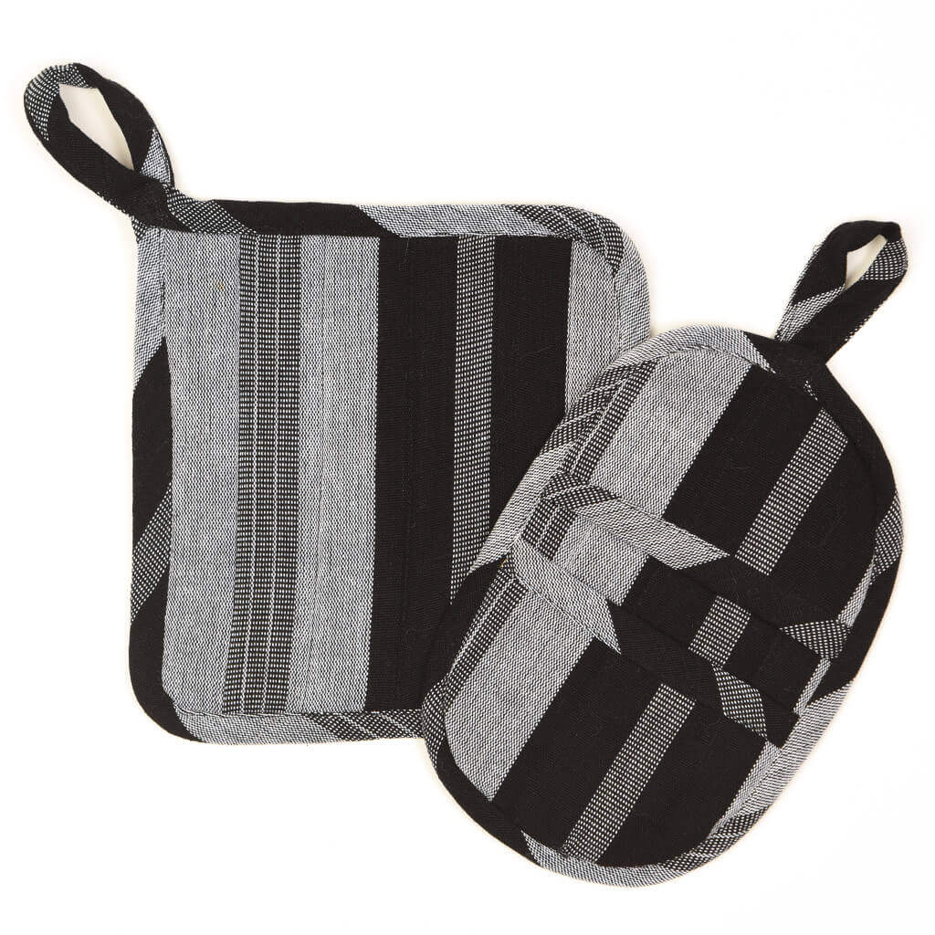 Potholder Gift Set | Black & Gray Stripes