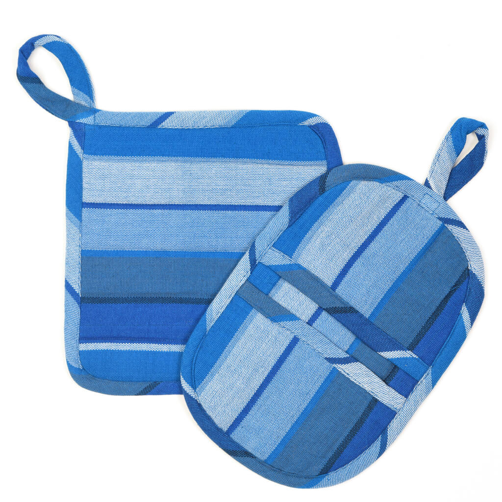 Potholder Gift Set | Stormy Blues Stripe