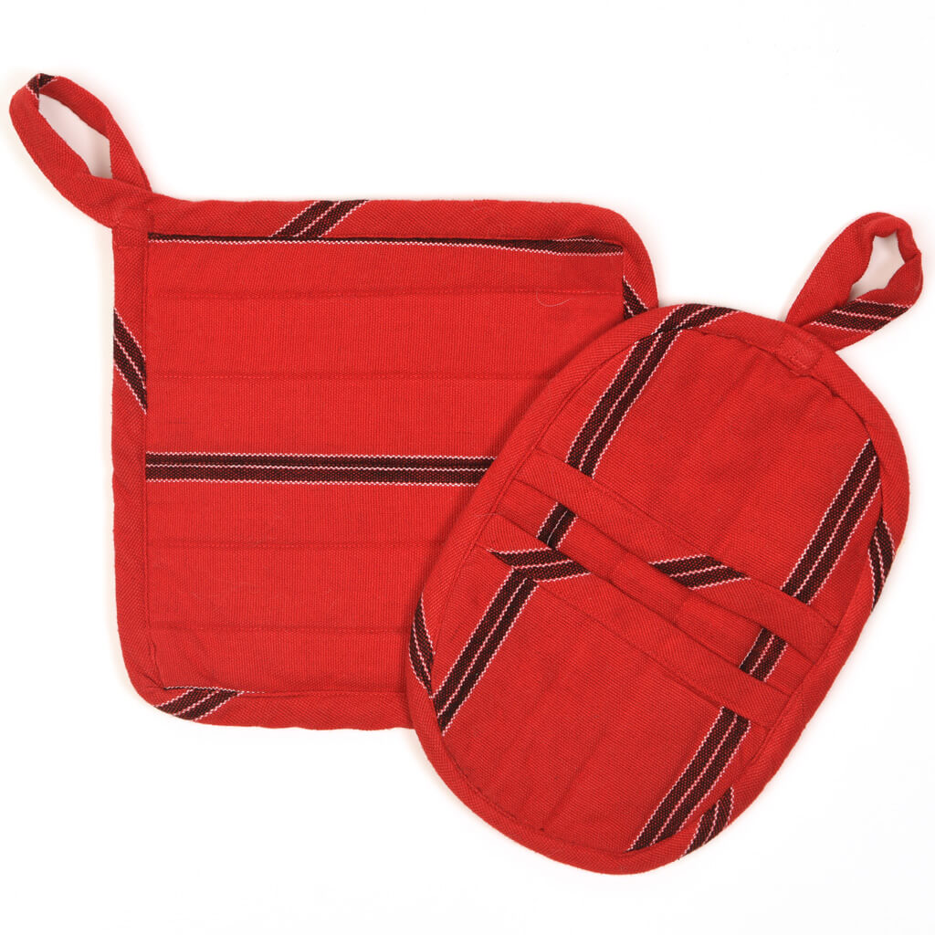 Potholder Gift Set | Cajola Red Stripes