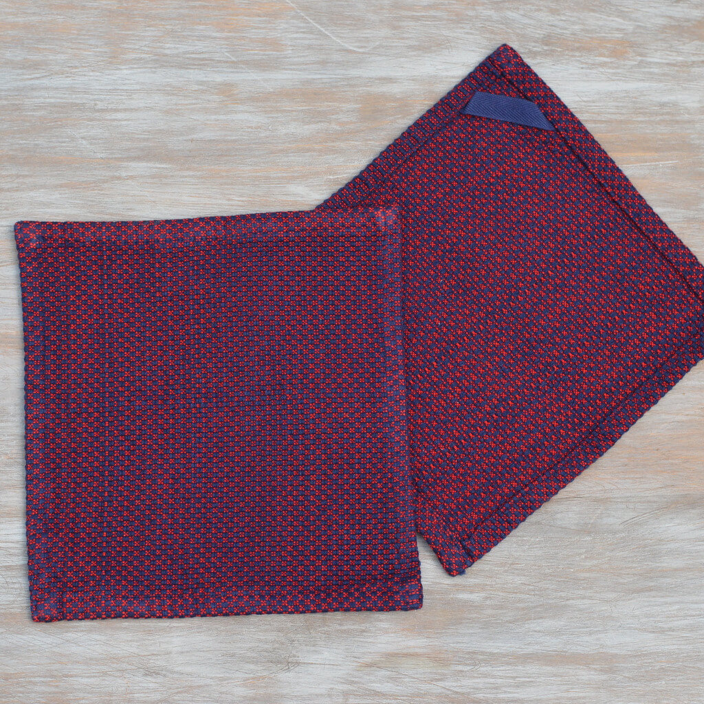 Dish Cloths Red & Blue Hache