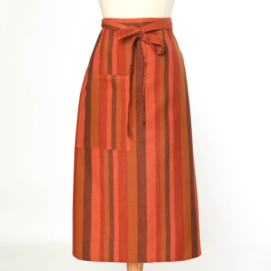 Bistro Apron | Brick & Pumpkin Stripes
