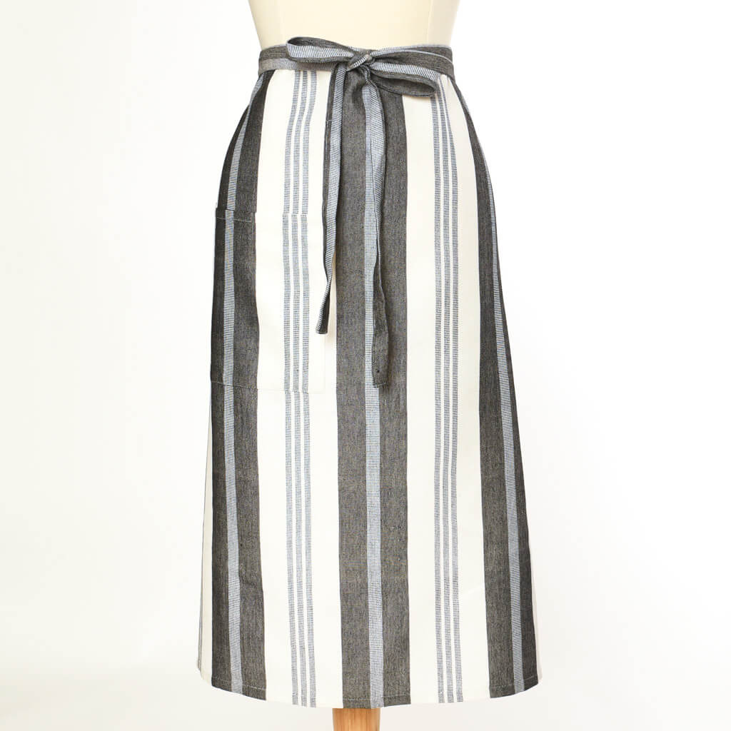 Bistro Apron | Black & White Stripes