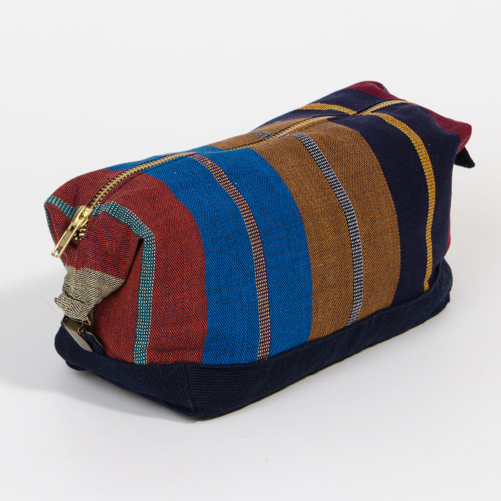 toiletry bag dopp kit navy indigo canvas