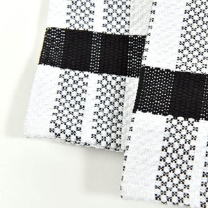 Hache Dish Towels | Black & White Stripes with Black Border