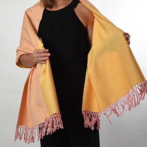 Soft & Neutral Shawl | Rose Pink & Butter Yellow