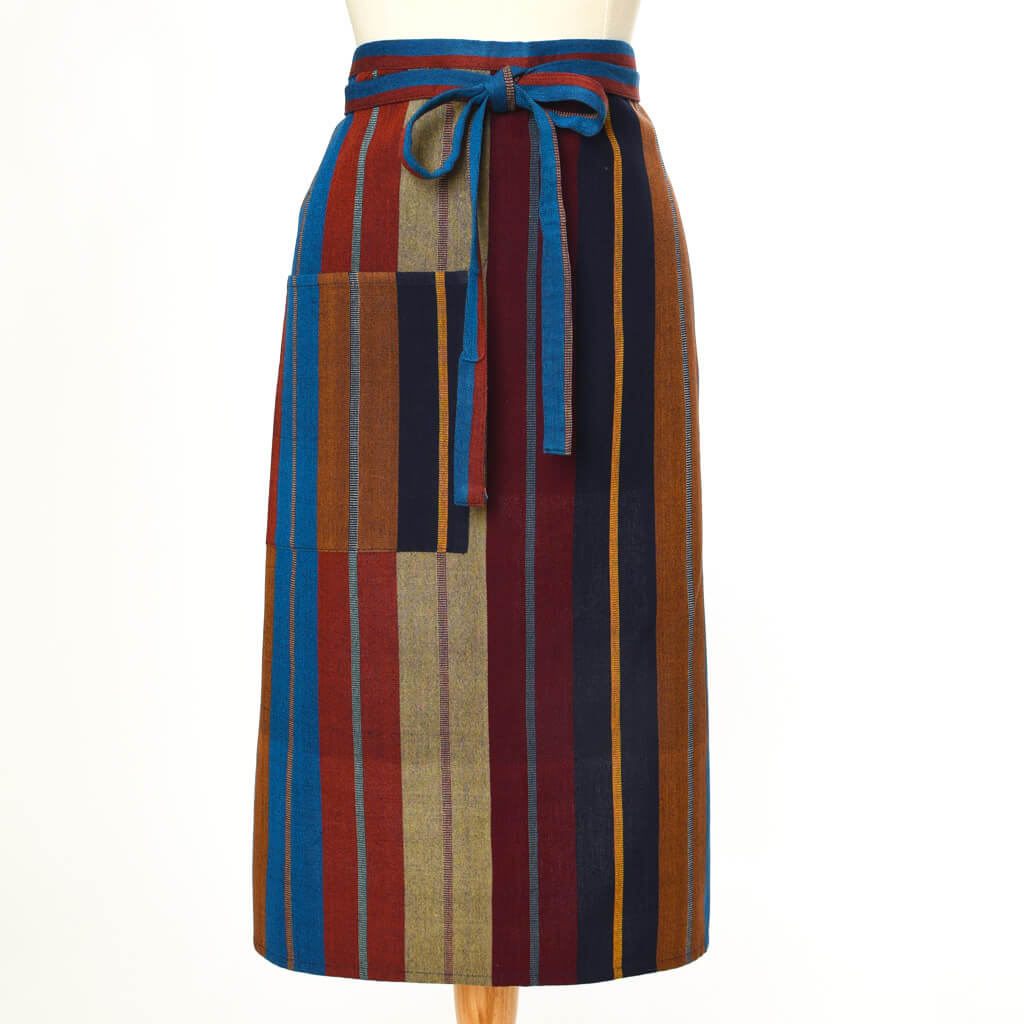 Bistro Apron | Wide Indigo Stripes