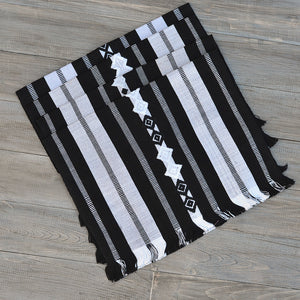 backstrap woven celebration placemats black and white