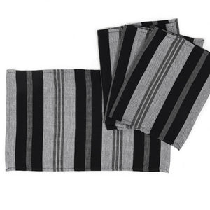Striped Placemats | Black & Gray Stripes