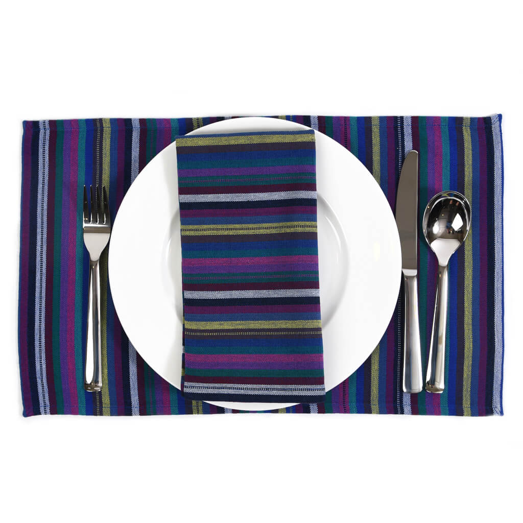 Striped Placemat Set | Cobalt Blues