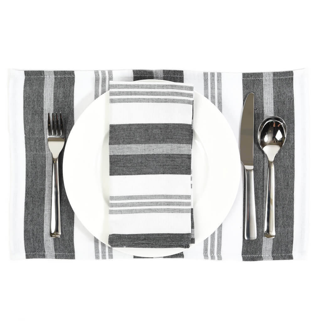 Striped Placemats | Black & White Stripes
