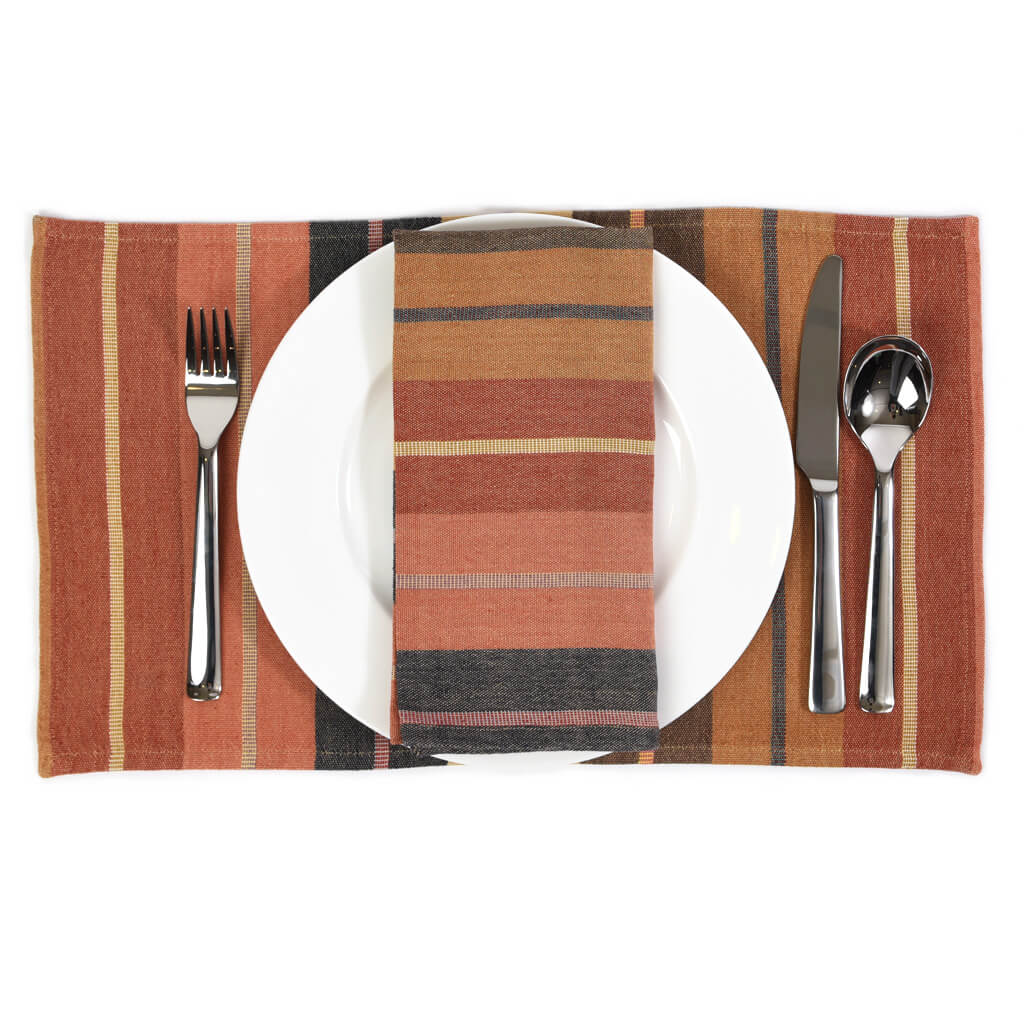 Striped Placemat Set | Wide Caramel
