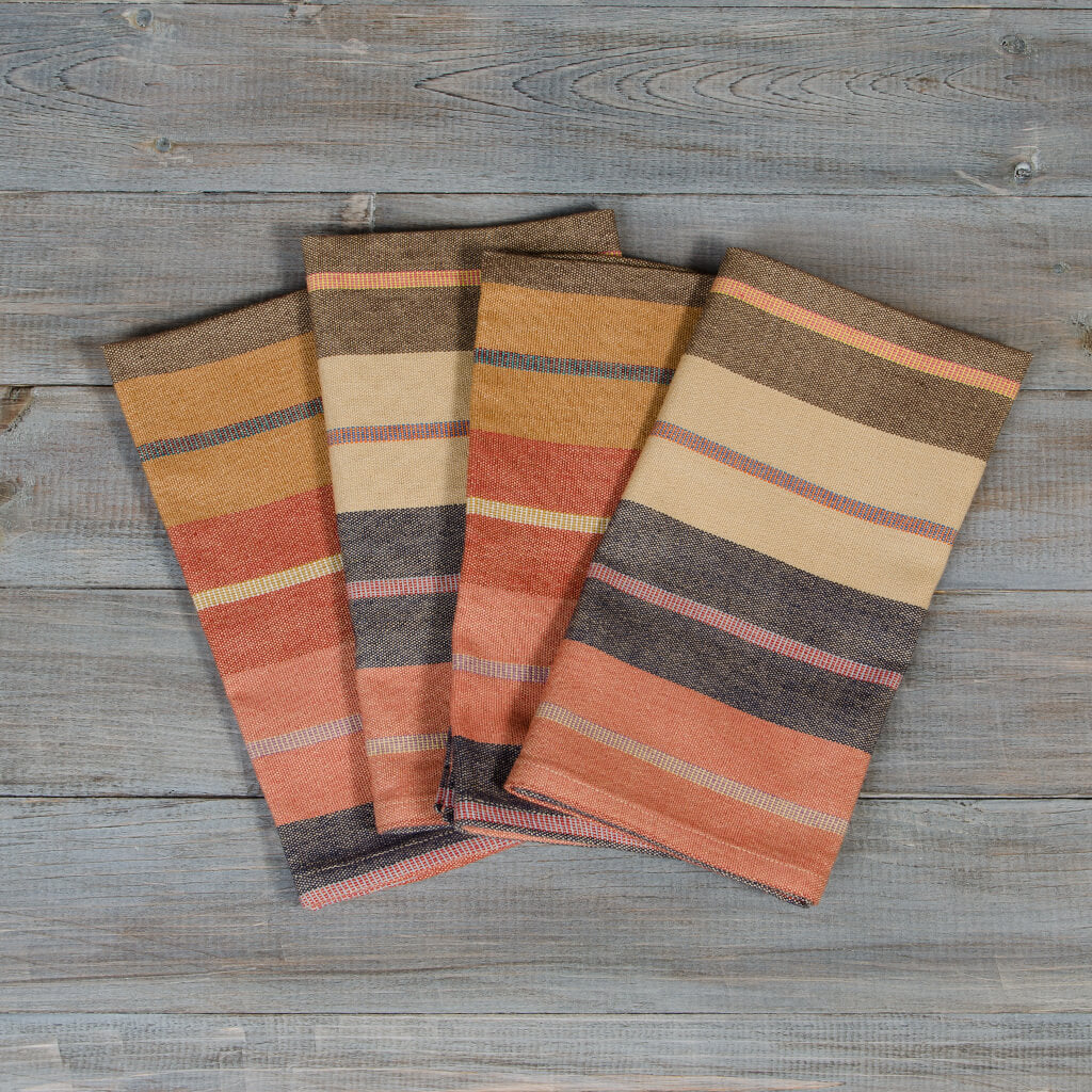 wide caramel stripe table napkins