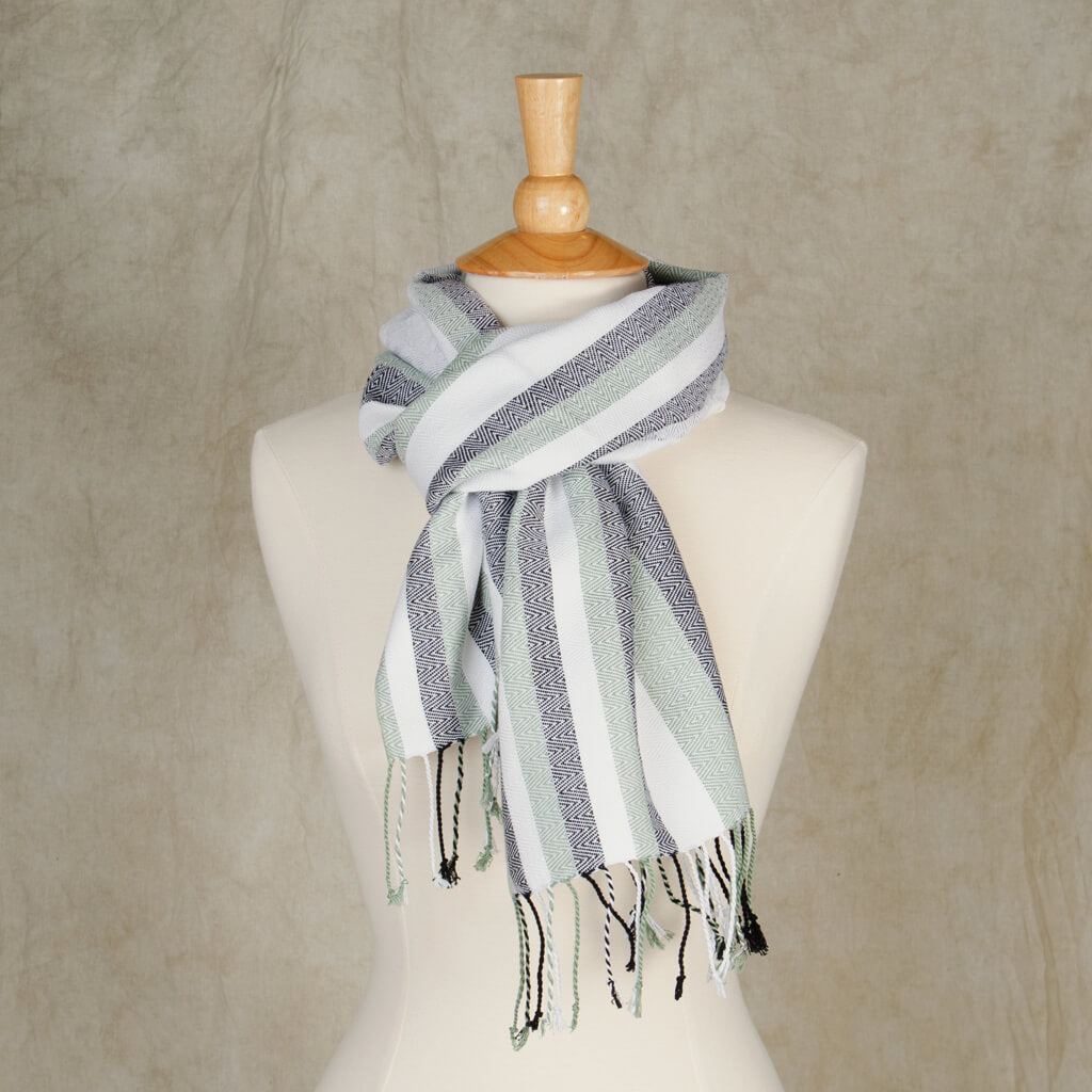 Paloma Stadium Scarf black and white with sage stripes