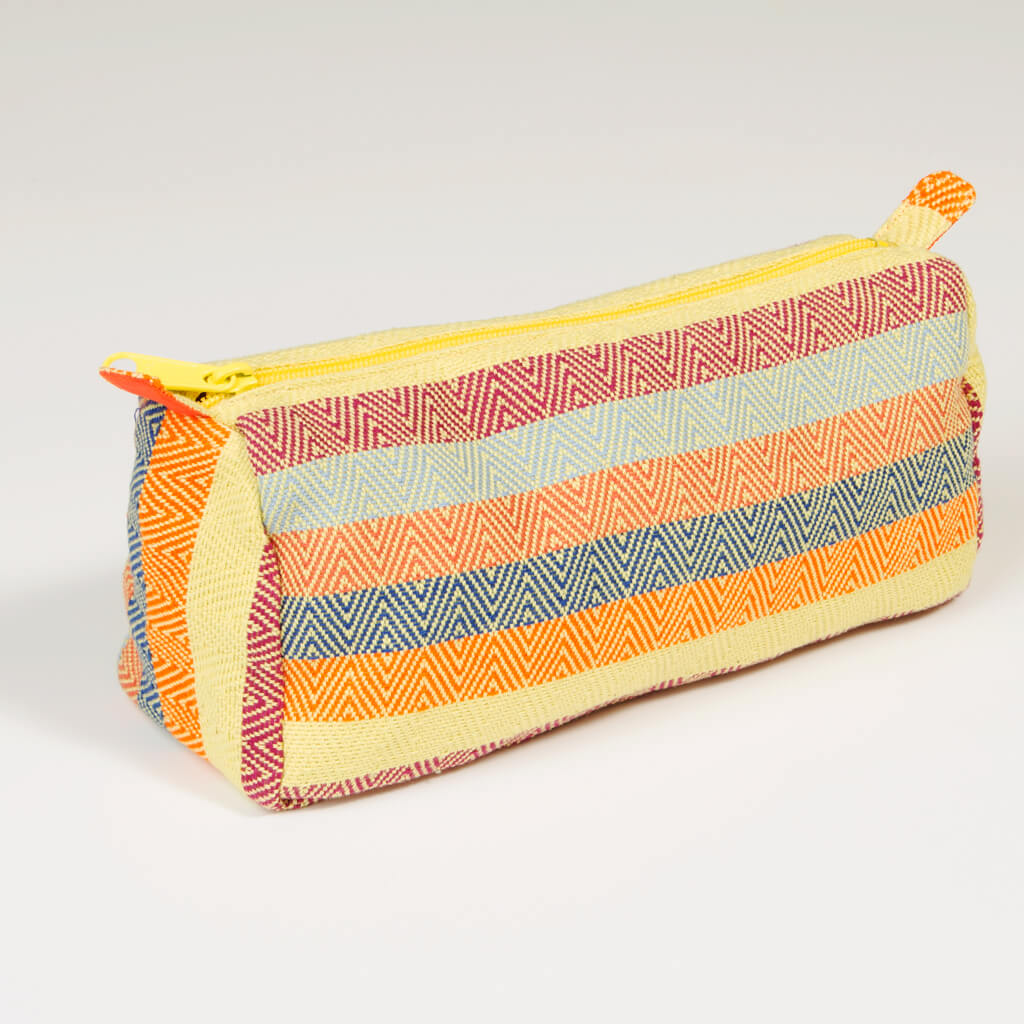 Cosmetic Bag in Lime Yellow Diamond Stripe