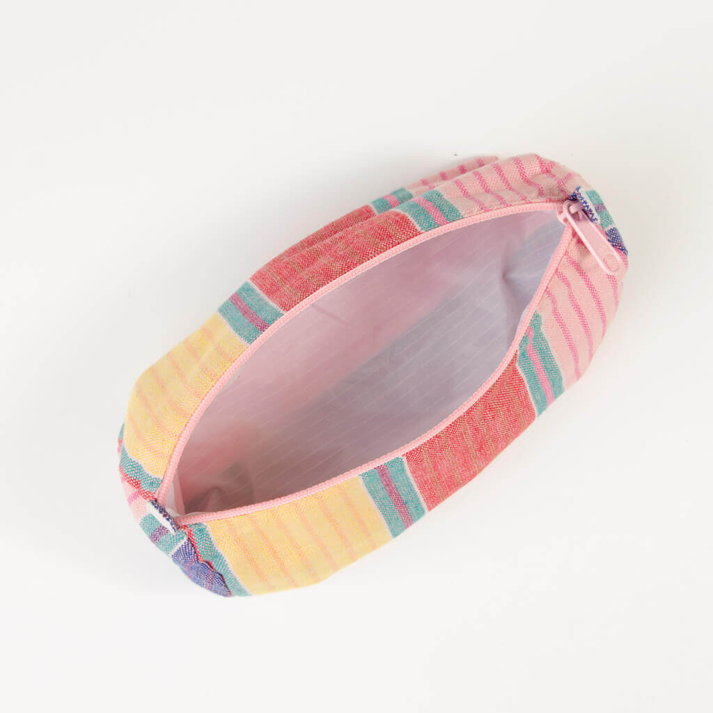 interior carousel stripe cosmetic bag