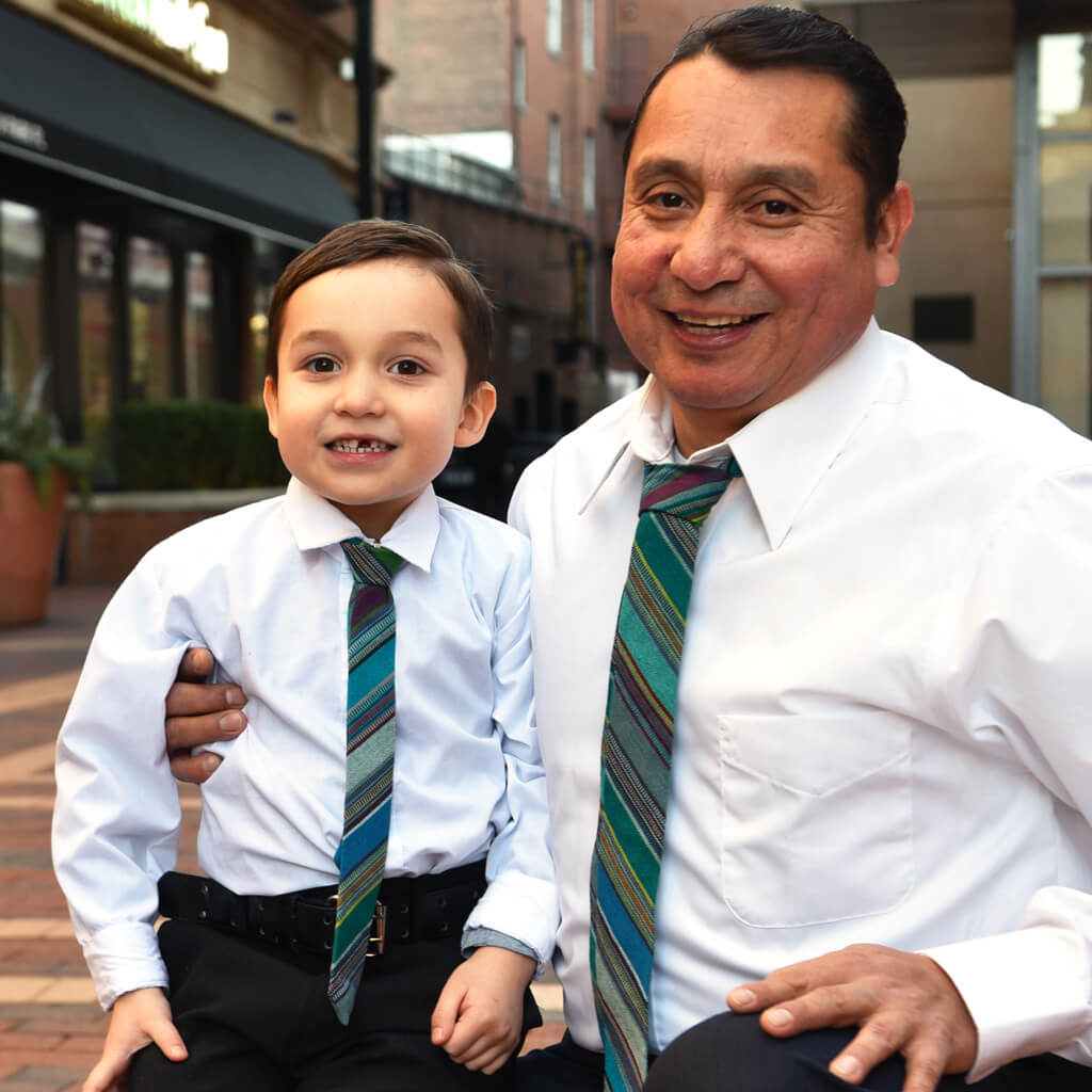 Men's & Boy's Tie Matching Set | Quetzal jade